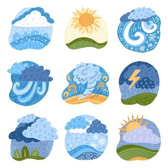 Effets météorologiques dessinés à la main