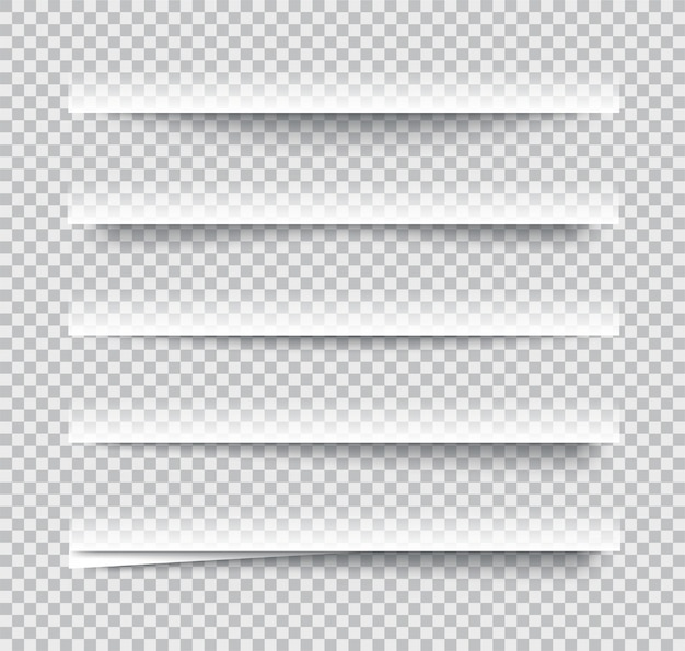 Effets d'ombre de papier réalistes transparents