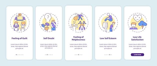 Effets de procrastination sur l'écran de la page de l'application mobile d'intégration avec illustrations