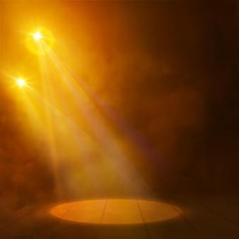 Effets de projecteurs lumineux. conception de fond de toile de fond de scène lueur.