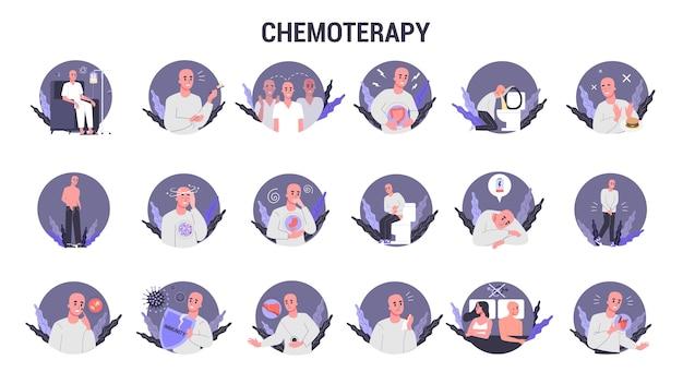 Effets secondaires de l'ensemble de chimiothérapie. le patient souffre d'une maladie cancéreuse. personnage masculin souffrant de chimiothérapie. chute de cheveux et nausées. illustration