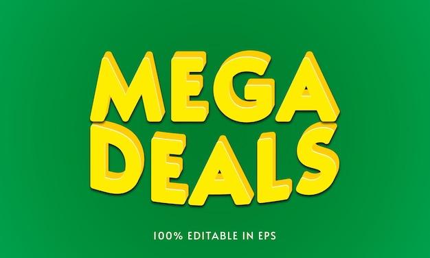 Effets de texte 3d créatifs élégants mega deals en eps