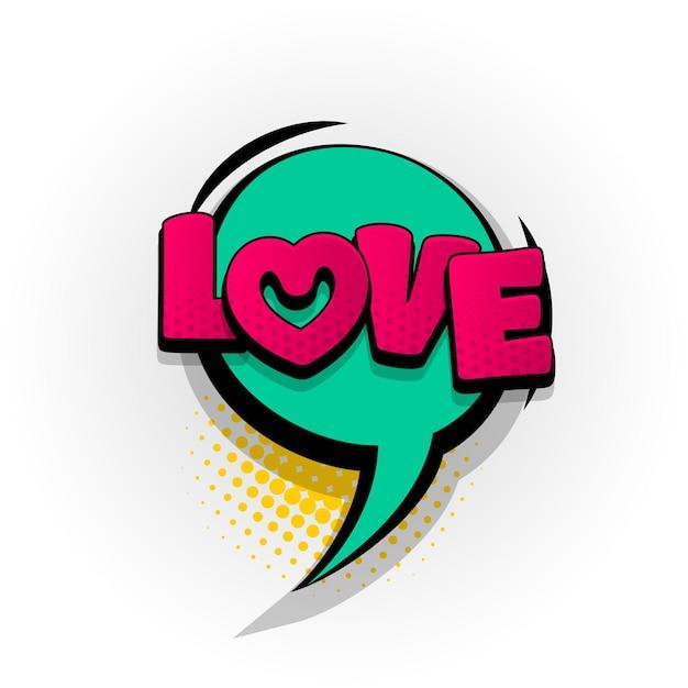 Effets de texte de bande dessinée coeur d'amour modèle bande dessinée bulle demi-teinte style pop art