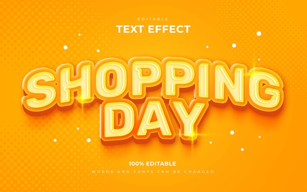 Effets de texte de bonne journée de shopping