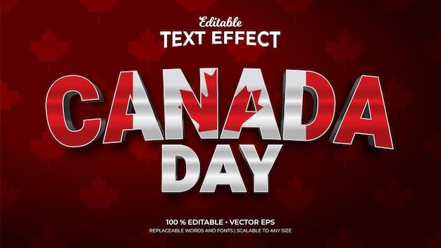 Effets de texte modifiables de style 3d de la fête du canada