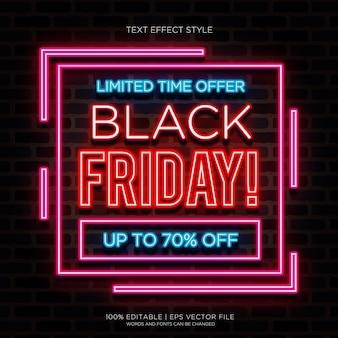 Effets de texte neon limitée black friday