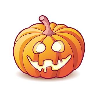 Effrayant citrouille jack lanterne avec un sourire à pleines dents effrayant et une lueur ardente à l'intérieur de la décoration pour halloween