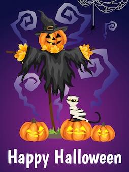 Un effrayant halloween avec texte happy halloween.