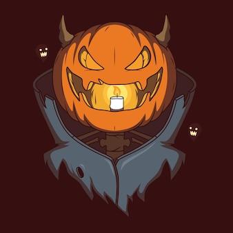 Effrayant halloween vampire pumpkin vector illustration concept de design drôle de célébration de vacances