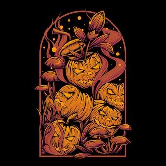 Effrayant tas de citrouilles d'halloween avec des cadres de piquet de tombe