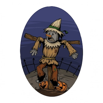 Effrayer la corneille dans un champ quand la nuit d'halloween s'effraie