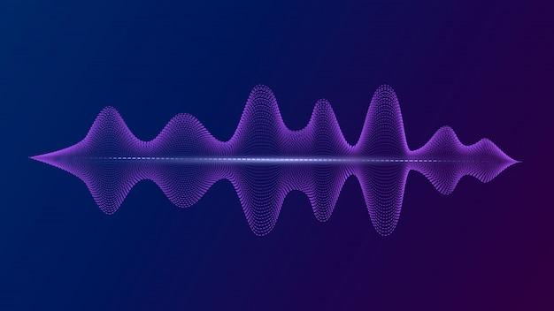 Égaliseur avec voix lumineuse et ondes sonores d'imitation. assistant personnel et reconnaissance vocale.