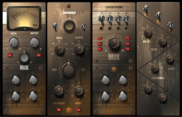 Égaliseurs et compresseurs virtuels réalistes pour un studio d'enregistrement.
