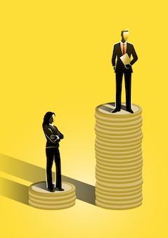 Égalité Des Sexes Avec Homme D'affaires Et Femme D'affaires Vecteur Premium