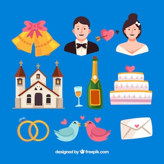 Église et autres éléments de mariage