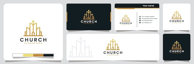Église, bâtiment, avec couleur or, inspiration de conception de logo