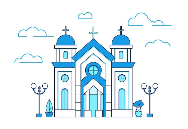 Église chrétienne de maison d'art de ligne en grèce avec des arbres et des lanternes