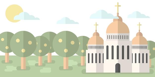 Eglise avec des dômes en toile de fond