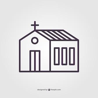 Église linéaire vecteur pictogramme