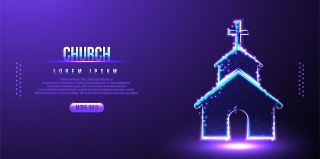 Église, religion, chrétien, conception religieuse de maillage filaire low poly