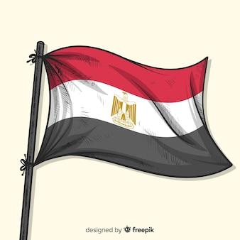Egypte drapeau national style dessiné à la main