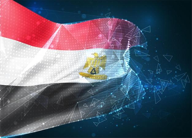 Egypte, drapeau vectoriel, objet 3d abstrait virtuel à partir de polygones triangulaires sur fond bleu