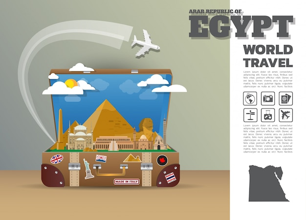 Égypte landmark global travel and journey infographic bagages 3d design
