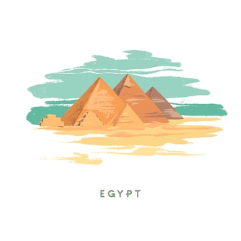 Egypte main dessinée sur blanc