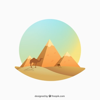 Égyptienne illustration pyramides dans le style gradient