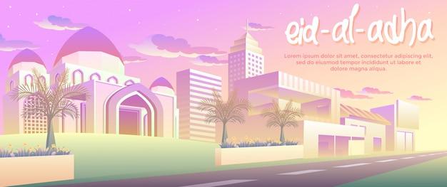 Eid al adha dans la bannière de la ville