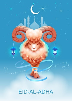 Eid al adha fête du sacrifice modèle de carte de voeux agneau sacrifice ciel nocturne