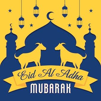 Eid al adha mubarak fond avec chèvre