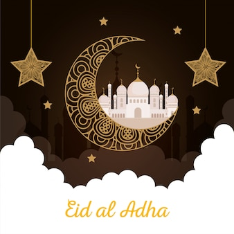 Eid al adha mubarak, joyeuse fête du sacrifice, lune avec mosquée et étoiles