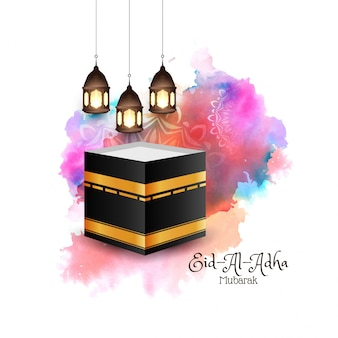 Eid-al-adha mubarak religieux fond coloré islamique
