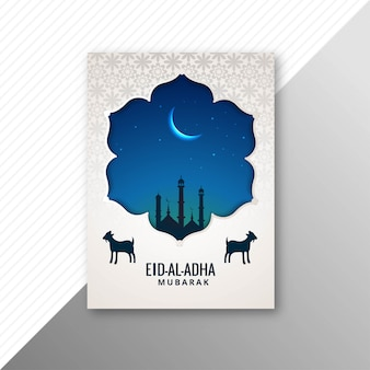 Eid al adha mubarak traditionnel avec conception de brochure de chèvre