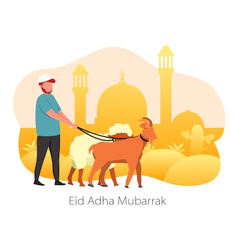 Eid al-adha mubarrak sacrifice animal