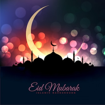 Eid al fitar belle mosquée et voeux de lune bokeh