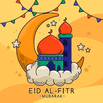 Eid al-fitr dessiné à la main - illustration eid mubarak