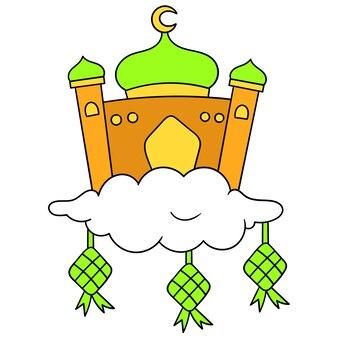Eid al fitr l'icône de la mosquée pour les lieux de culte musulmans sur les nuages. émoticône de dessin animé. dessin d'icône de griffonnage, illustration vectorielle