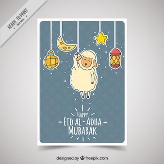 Eid heureux al-adha avec des objets suspendus