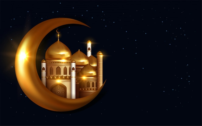Eid mubarak calligraphie avec lanterne et éléments en croissant.