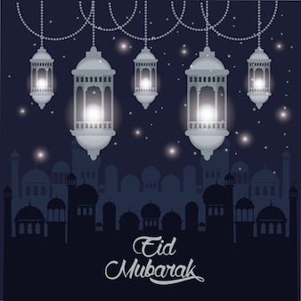 Eid mubarak design avec des lampes islamiques