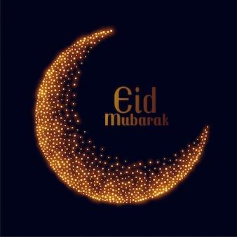 Eid mubarak design de lune scintillant