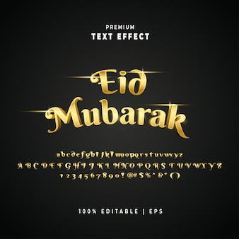 Eid mubarak effet de texte modifiable en or de luxe vecteur premium