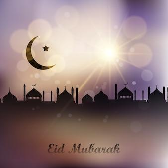 Eid mubarak fond avec paysage de mosquées