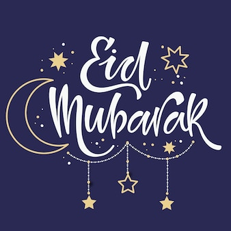Eid mubarak lettrage avec lune et étoiles dessinées à la main