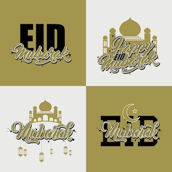 Eid mubarak logo set d'autocollants
