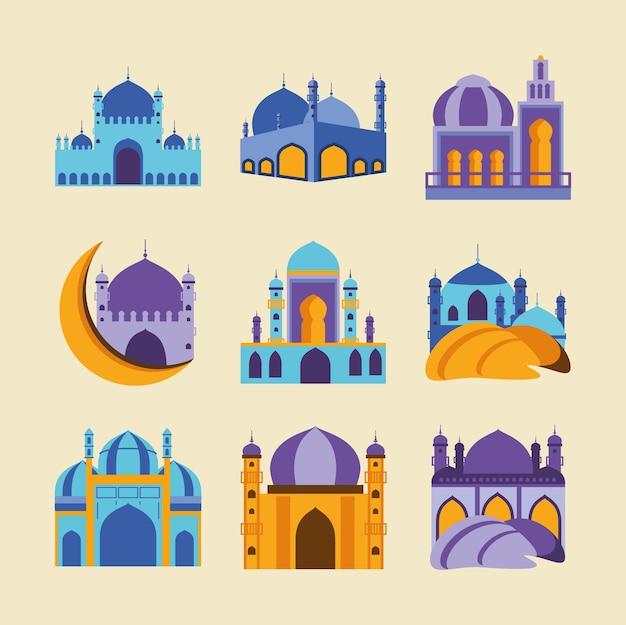 Eid mubarak mosquée temple lune