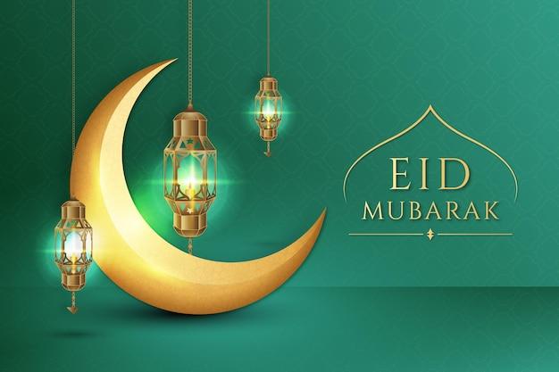 Eid mubarak réaliste de lune dorée