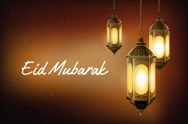 Eid mubarak saluant avec une lanterne arabe suspendue